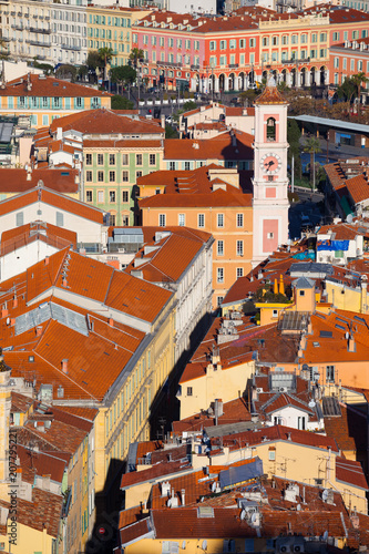 Fotobehang Nice Old Town Of Nice City From Above In France