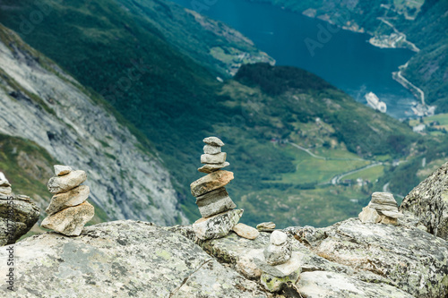 View on Geirangerfjord from Dalsnibba viewpoint in Norway - 207798255