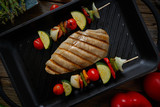 grilled chicken breast with brochette vegetable - 207804860
