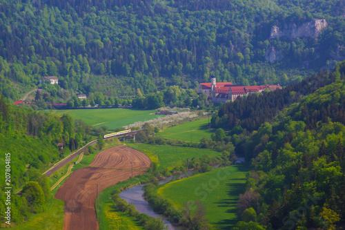 Aluminium Nachtblauw Das obere Donautal beim Kloster Beuron