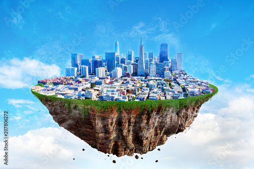 Fotobehang San Francisco Fantasy Floating Island of San Francisco on a Blue Sky
