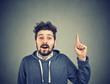 Leinwanddruck Bild - Happy guy having bright idea