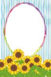 暑中お見舞葉書デザイン(縦)|ヒマワリと水彩タッチの背景イラスト|夏のイメージ