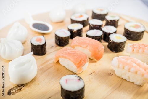 Aluminium Sushi bar japanese food type sushi on wooden table with white background