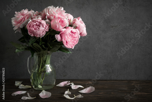 Still life with a beautiful bouquet of pink peony flowers. holiday or wedding background © samael334