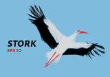 The stork of triangles. Stork low poly. Vector illustration.