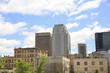 Winnipeg, Manitoba / Canada - June 3, 2018: Winnipeg city scape with cars parked and a blue sky