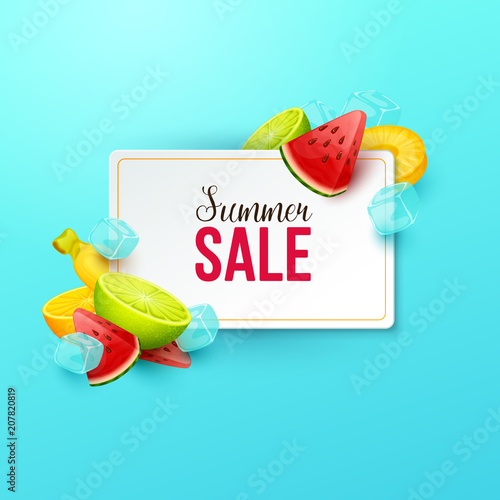 Summer sale background with fruits. Vector illustration. - 207820819