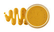 Mustard sauce in bowl isolated on white background. Top view