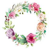Beautiful watercolor floral bouquet, whimsical flowers wreath, circle frame. Pink rose, violet and cream peony. Fantasy wedding arrangement isolated on white