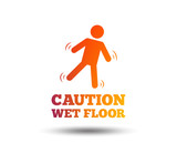 Caution wet floor sign icon. Human falling symbol. Blurred gradient design element. Vivid graphic flat icon. Vector - 207821686