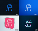 Glitch, Neon effect. Cleaning bucket with sponge line icon. Washing Housekeeping equipment sign. Trendy flat geometric designs. Vector - 207821856