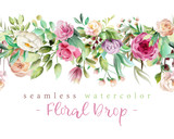 Beautiful watercolor flowers - violet roses, creaem peony and floral greenery branches and leaves seamless tileable drop © princhipessa