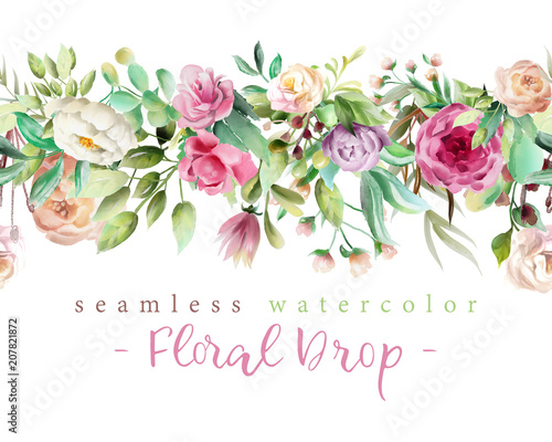 Wall mural Beautiful watercolor flowers - violet roses, creaem peony and floral greenery branches and leaves seamless tileable drop