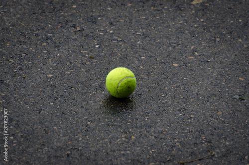 Fotobehang Tennis tennis ball stay on the asphalt