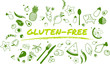 gluten-free, healthy and well-balanced diet design - vector illustration