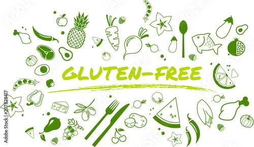 gluten-free, healthy and well-balanced diet design - vector illustration