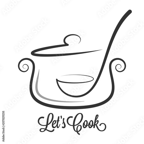 Pan with ladle ornate. Kitchen spoon in a Saucepan pot on white background - 207829258