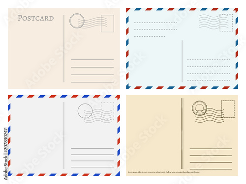 Travel postcard templates. Greetings post cards backside vector set