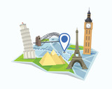Destination concept. Vector illustration of pin on a map surrounded with world landmarks.