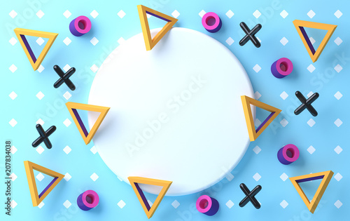 Sticker Minimalist abstract background, pastel colors, 3D render, podium for the advertized goods