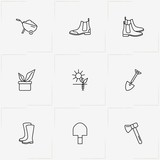 Gardening line icon set with plant root, boots and wheelbarrow - 207835853