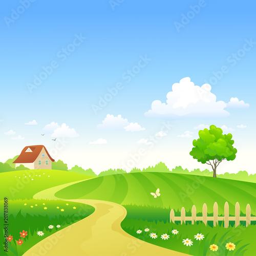 Fotobehang Boerderij Cartoon farm