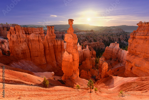 Canvas Rood traf. Thor's hammer in Bryce Canyon National Park in Utah USA during sunrise.