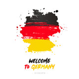 Welcome to Germany. Flag and map of the country