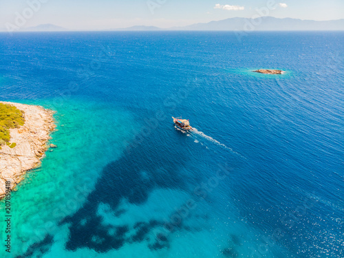 Fotobehang Blauwe jeans Drone view to the Aegean sea