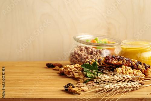 Leinwanddruck Bild Healthy breakfast on the table