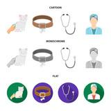 Collar, bone, cat, haircut .Vet Clinic set collection icons in cartoon,flat,monochrome style vector symbol stock illustration web. - 207874890