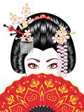Geisha with Fan - 207875803