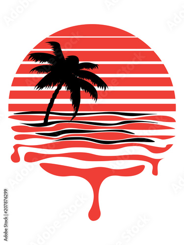 Fotobehang Vintage Poster Retro striped sun and palm