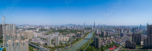 Aerial view over the Nanjing city, urban architectural landscape - 207877488