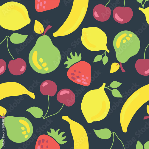 Vintage inspired banana cherry lemon strawberry pear seamless pattern on a dark blue background. - 207881829