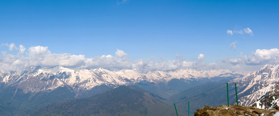 Caucasus mountain range at an altitude of 2320 m in Sochi April 2018 panorama righ © Anna Pismenskova