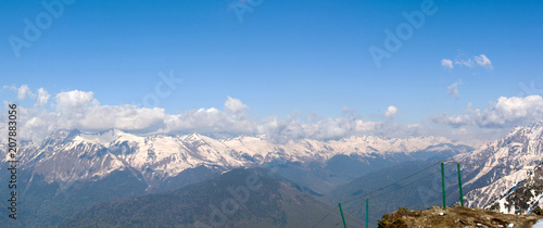 Caucasus mountain range at an altitude of 2320 m in Sochi April 2018 panorama righ - 207883056