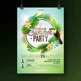 Vector Summer Beach Party Flyer Design with flower toucan on exotic leaf background. Summer nature floral elements, tropical plants, and air balloon with blue sky. Design template for banner, flyer