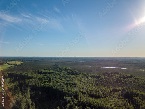Fotobehang Grijze traf. drone image. aerial view of rural area with fields and forests