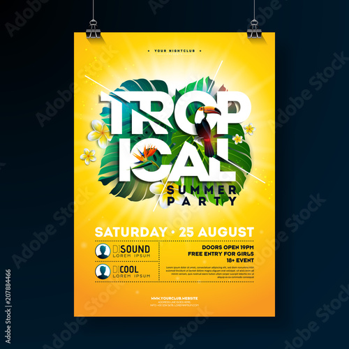 Vector Tropical Summer Party Flyer Design with typographic elements on sun yellow background. Summer nature floral elements, toucan bird and parrot flower with exotic leafs. Design template for banner