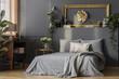 Leinwanddruck Bild - Grey bedding and blanket