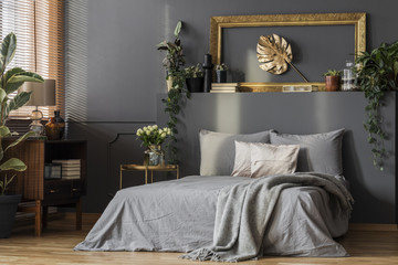 Grey bedding and blanket