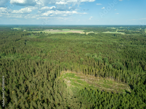 Plexiglas Pool drone image. aerial view of rural area with fields and forests
