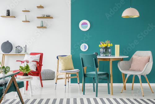 Flowers in colorful apartment interior