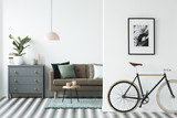 Bike and painting on the wall in a modern living room interior in the background with a chest of drawers, plant and sofa - 207886026