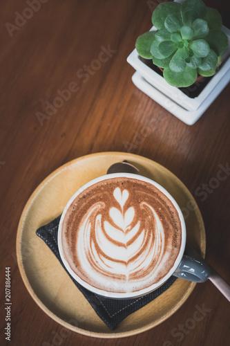 Fotobehang Chocolade hot chocolate with latte art