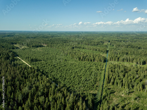 Fotobehang Blauw drone image. aerial view of rural area with fields and forests