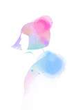 Illustration of woman beauty salon silhouette plus abstract watercolor.  Digital art painting - 207887287