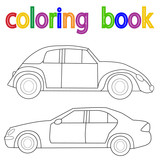 white background, book coloring car